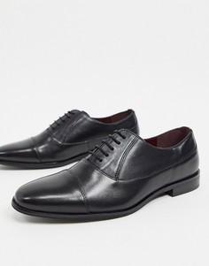Черные кожаные туфли с круглым носком Walk London-Черный
