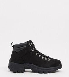 Черные походные ботинки из искусственной замши для широкой стопы ASOS DESIGN Wide Fit-Черный