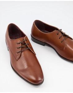 Коричневые кожаные туфли дерби на шнуровке Walk London-Светло-коричневый