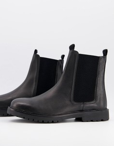 Черные кожаные ботинки челси H by Hudson-Черный