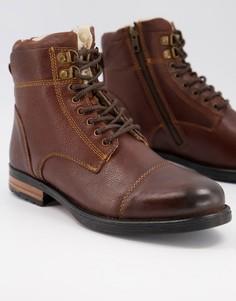 Коричневые ботинки из искусственной кожи на шнуровке с подкладкой из искусственного меха Silver Street-Коричневый