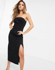 Черное выбеленное джинсовое платье миди со швом ASOS DESIGN Hourglass-Черный