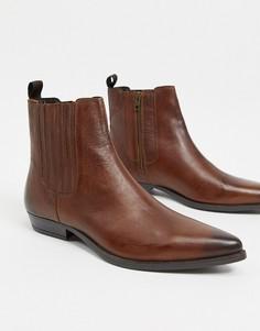 Коричневые кожаные ботинки в стиле вестерн на кубинском каблуке Silver Street-Светло-коричневый