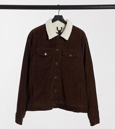 Коричневая вельветовая куртка с воротником из искусственного меха New Look Plus-Коричневый
