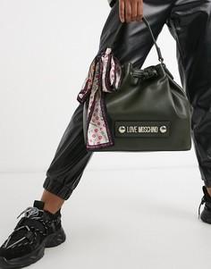 Темно-зеленая сумка со шнурком и шарфиком Love Moschino-Зеленый