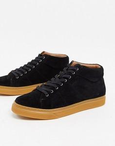 Черные замшевые кроссовки-ботинки на плоской подошве Dune Suede-Черный