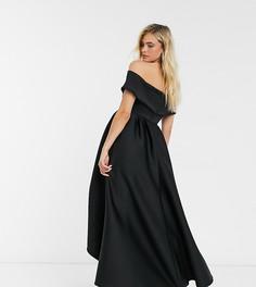 Черное платье мидакси для выпускного со спущенными плечами и ассиметричным подолом True Violet Maternity-Черный