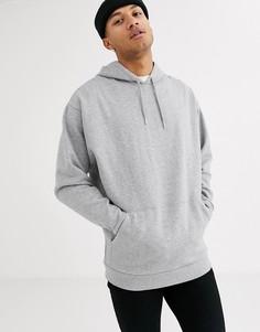 Удлиненный худи в стиле oversized серого цвета ASOS DESIGN-Серый