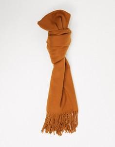 Прямоугольный шарф с бахромой SVNX-Коричневый 7X