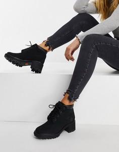 Черные ботинки на каблуке со шнуровкой Timberland Kinsley-Черный