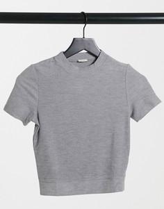 Серая футболка с короткими рукавами Pimkie-Серый