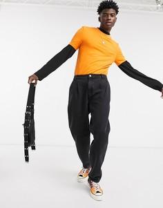 Черные выбеленные джинсы прямого кроя со складками ASOS DESIGN-Черный