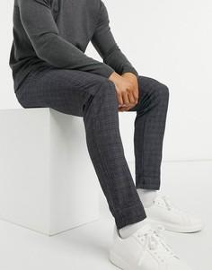 Серые трикотажные брюки в клетку Jack & Jones Premium-Серый