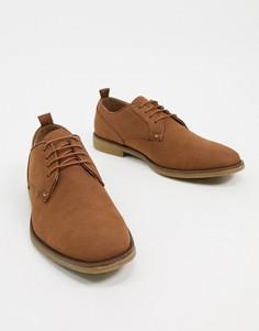 Светло-коричневые замшевые туфли-дерби Burton Menswear-Светло-коричневый