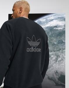 Черный свитшот из плотного флиса adidas Originals