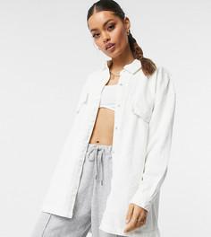 Белая джинсовая oversized-рубашка Missguided Petite-Белый