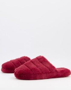 Стеганые слиперы ягодного цвета ASOS DESIGN Zoe-Красный