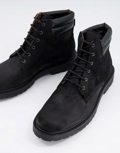 Походные ботинки черного воскового цвета H by Hudson-Черный