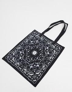 Черная парусиновая сумка-тоут с платочным принтом ASOS DESIGN-Черный