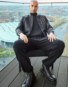 Куртка-бомбер в университетском стиле Bershka-Черный