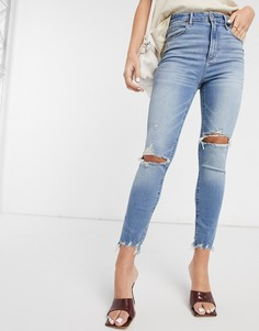 Синие выбеленные джинсы с рваной отделкой на коленях Abercrombie & Fitch-Голубой