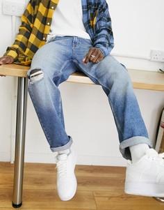 Светло-синие джинсы прямого кроя до щиколотки с потертостями на коленях в винтажном стиле ASOS DESIGN-Голубой