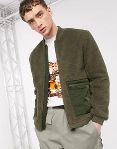 Куртка-бомбер цвета хаки из искусственного меха ASOS DESIGN-Зеленый