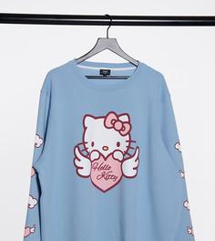 Голубой свободный свитшот с принтомNew Girl Order CurvexHello Kitty
