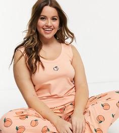 Пижама из майки и брюк с принтом персиков Skinnydip Curve-Розовый