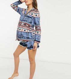 Голубая пижама из органического хлопка с шортами, рубашкой с отложным воротником и ацтекским принтом Chelsea Peers Maternity-Голубой