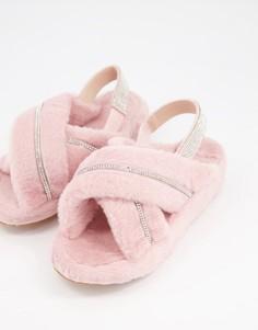 Нежно-розовые слиперы с отделкой стразами Public Desire Babygirl-Розовый