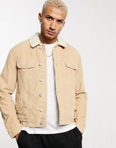 Светло-коричневая вельветовая куртка в стиле вестерн на подкладке из искусственного меха ASOS DESIGN-Светло-коричневый