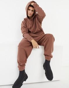 Спортивный костюм в стиле oversized из худи и джоггеров выбеленного коричневого цвета ASOS DESIGN-Коричневый