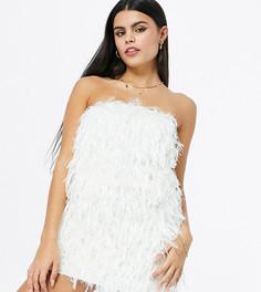 Эксклюзивное платье мини цвета слоновой кости с искусственными перьями металлик Jaded Rose Petite-Белый