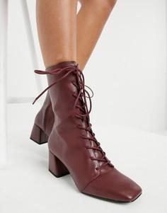 Бордовые ботинки на каблуке со шнуровкой из искусственной кожи Monki Thelma-Красный
