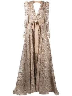 Elie Saab вечернее платье макси с вышивкой пайетками