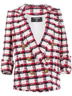 Balmain двубортный твидовый пиджак