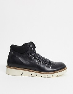 Черные походные ботинки из искусственной кожи с подошвой контрастного цвета Jack & Jones-Черный