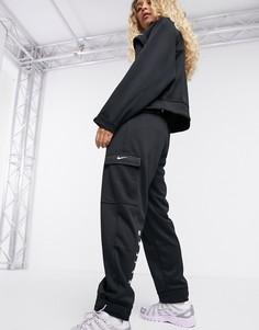 Черные джоггеры с карманами карго и логотипом-галочкой Nike-Черный