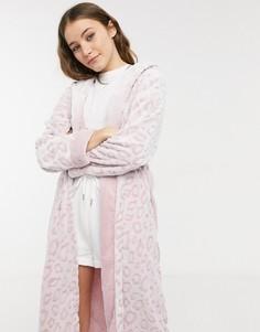 Мягкий розовый халат с рельефным рисунком в анималистичном стиле Loungeable