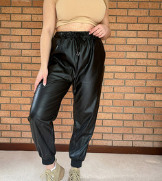 Черные джоггеры из искусственной кожи In The Style Plus x Olivia Bowen-Черный