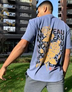Лиловая футболка с принтом на спине Topman-Фиолетовый