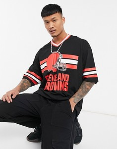 Спортивная футболка в стиле oversized с круглым вырезом и отделкой в рубчик ASOS DESIGN NFL Cleveland Browns-Многоцветный