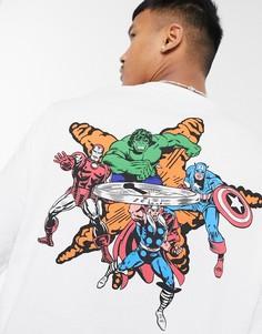 """Белый лонгслив в стиле oversized с принтом """"Marvel"""" на груди и спине ASOS DESIGN"""
