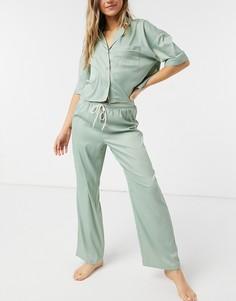 Шалфейно-зеленая пижама из атласной ткани Topshop-Зеленый