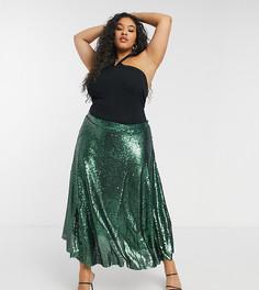 Зеленая юбка-трапеция миди с пайетками Native Youth Plus-Зеленый