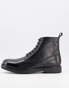 Черные кожаные ботинки на шнуровке Base London-Черный