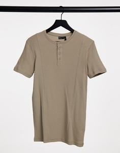 Бежевая обтягивающая футболка из вафельной ткани, с декоративными швами и воротником с застежкой на пуговицах ASOS DESIGN-Бежевый