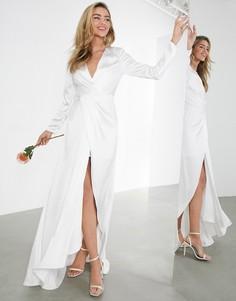 Атласное свадебное платье с глубоким вырезом и запахом ASOS EDITION Sadie-Белый