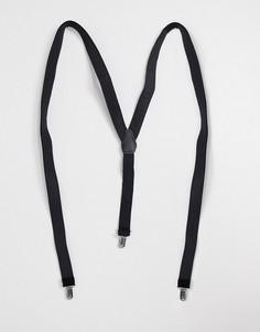 Черные бархатные подтяжки ASOS DESIGN-Черный